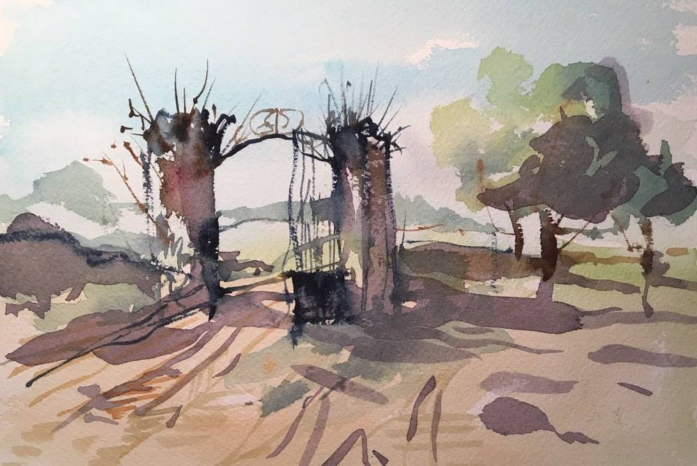 Frank Walter's painting of the back gates at Chateau Fengari in watercolour.