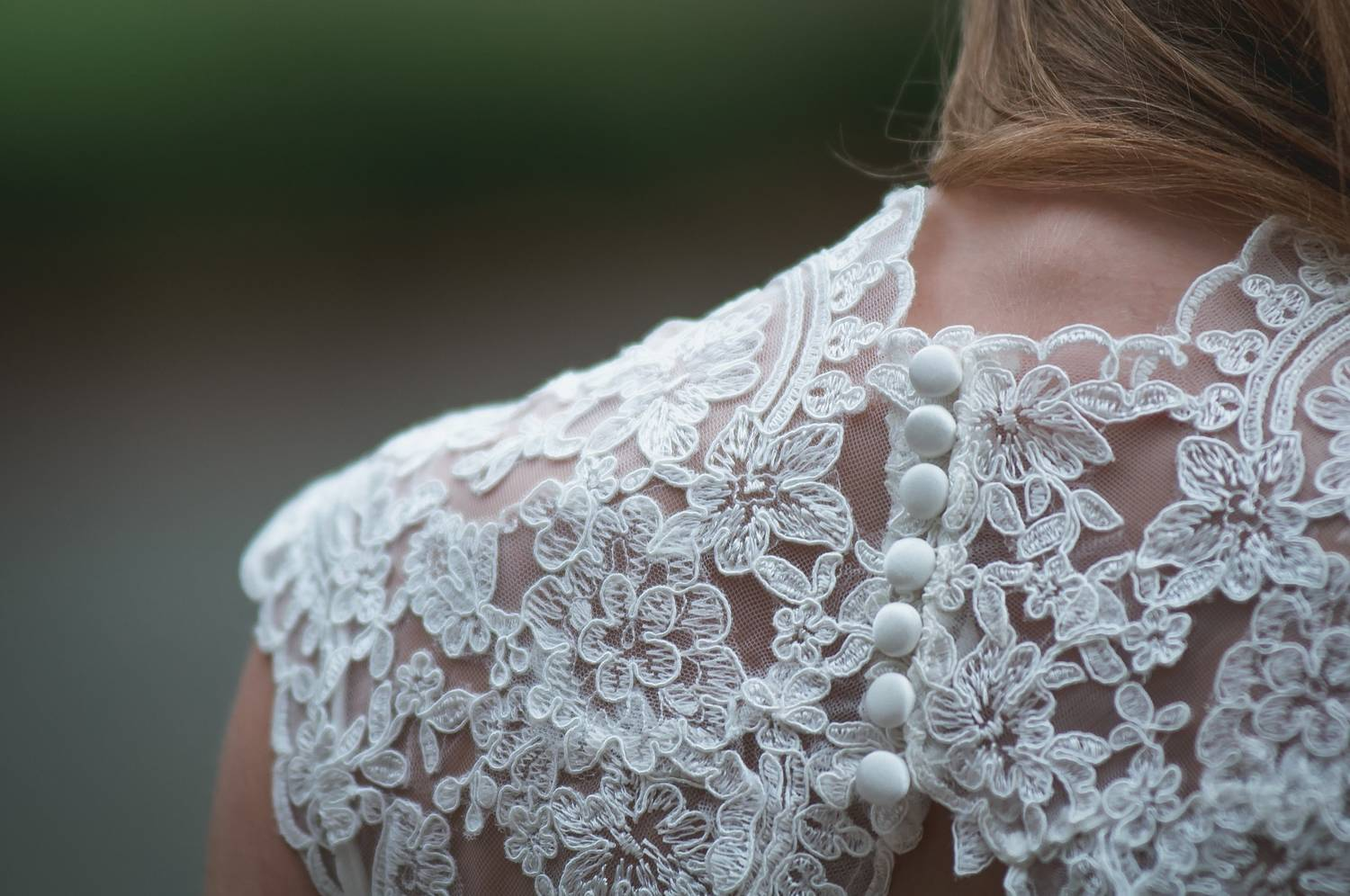 Beautiful lace detail on the back of a wedding dress